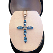 Blue Topaz and Diamond cross pendant, 14K white gold, ca. 1960