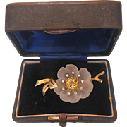 SALE Rock crystal, Diamond and yellow Topaz brooch, 18K yellow gold, ca. 1950