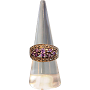 Amethyst and Marcasites silver ring, ca. 1960