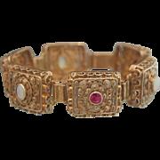 Art Nouveau gilt silver bracelet with pink Sapphires and Opals, ca. 1900
