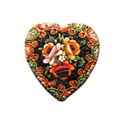 SALE Antique Micro Mosaic brooch in the shape of a heart, 19th century