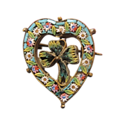 SALE Antique Micro Mosaic brooch in the shape of a heart and a clover leaf ...