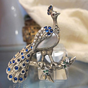 SOLD French Art Nouveau silver brooch in the shape a beautiful peacock,turn of the  20th centu