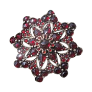 Antique Bohemian Garnet brooch, set in silver, 19th century
