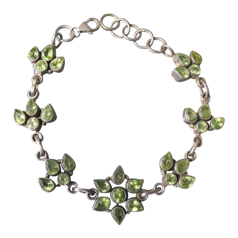 Periodot and silver bracelet in the shape of flowers and leaves, early 20th century
