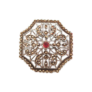 Silver, Marcasite and Garnet brooch/ pendant, turn 20thcentury