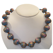 Vintage Murano Venetian Wedding Cake Art Glass Bead necklace , dated at about 1930