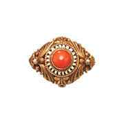 SOLD Art Deco brooch with a red Coral and enamel set in gilded silver, ca. 1930