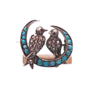 SALE Rare Victorian seed pearl and turquoise brooch set in silver,ca. 1880