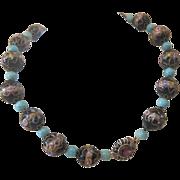 Black Murano Venetian Wedding Cake glass bead necklace, early 20th century