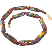Vintage Venetian Mille Fiori Glass Bead Necklace ,ca.1950