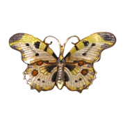 Silver and enamel brooch in the shape of a colourful butterfly,dated at about 1920