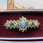 Antique Micro Mosaic brooch depicting white flowers on a turquoise ground,19th century