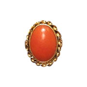 SOLD Fourteen karat yellow gold and red Coral ring, dated at about 1960