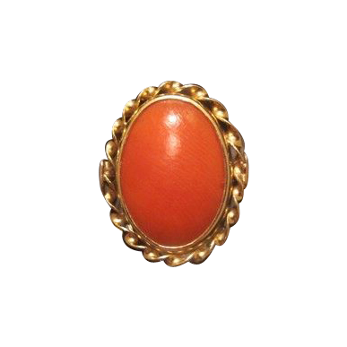 Fourteen karat yellow gold and red Coral ring, dated at about 1960