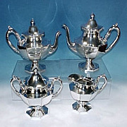 Antique HARTFORD STERLING CO. Quadruple Silver Plate 5-piece Tea Set #12219 George III Style
