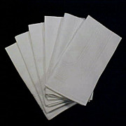 "Vintage Set of Six (6) Fine Damask Cotton Linen DINNER NAPKINS Creamy White 19"" x 19"""