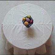 "SOLD Round Tablecloth Cotton Linen Hand Loomed Ecru Crochet Cutwork Lace 75"" Handmade Tab"