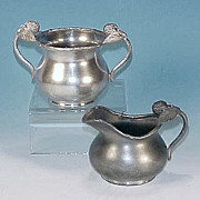 Antique BARBOUR SILVER CO. Quadruple Silverplate Berry Creamer & Sugar Bowl Applied Figural Berries & Leaves