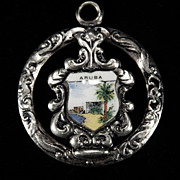 Vintage Silver Plate & Enamel PENDANT Souvenir ARUBA (c. 1964)