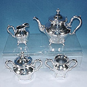 Antique Quadruple Silverplate Footed TEA SET #2658 DERBY SILVER PLATE CO.
