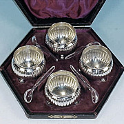 Antique Silver Plate Footed Open Salts in Presentation Box Set of 4 by THOMAS LATHAM & ERNEST MORTHON c.1866-1896