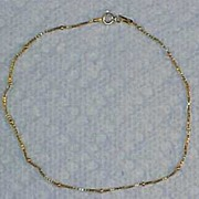 Vintage Yellow Gold Plated STERLING SILVER .925 Box Link & Bead Bracelet -  ITALY