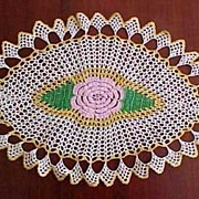 """Vintage Hand Crochet Oval Lace ROSE FLORAL Table Dresser Doily / Golden Yellow, Pink & Green 23.5"""" x 13.5"""""""
