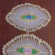 Vintage Oval Crochet FLORAL MEDALLION Table Dresser Doily PAIR 15x10 & 14x9.5
