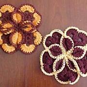 "Vintage Hand Crochet Knit 3-D FLOWER Potholder / Pot Holders Dark Brown, Orange & Yellow Set of Two (2) 8"" Diameter"