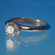 Vintage Estate 1/2 Ct Cubic Zirconium Brilliant Round Diamond Solitaire Silver Setting Engagement Ring Marked KOREA C6