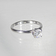 """1/2 Ct Brilliant Round Diamond Solitaire Silver Setting Engagement Ring Cubic Zirconium Marked """"CA"""""""
