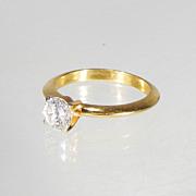 1/2 Ct Brilliant Round Diamond Solitaire Engagement Ring Yellow Gold Color Setting Cubic Zirconium