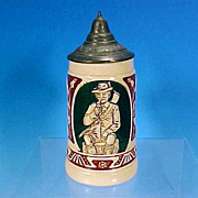 "SOLD Vintage German Stoneware Beer Stein - ""The Noble Barley Juice gives Strength and Cou"
