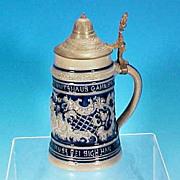 Antique Mathias Girmscheid Saltglaze Lidded Cobalt GERMAN Beer Stein - Cobalt Blue / Kissing Cherubs