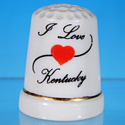 Collectible Souvenir Porcelain China Thimble - I LOVE KENTUCKY
