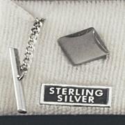 Vintage STERLING SILVER Tie Tack / Tie Tac Hand Engraved