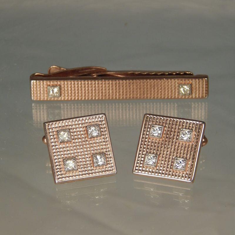 Vintage KREISLER KRAFT U.S.A. Tie Clasp Tie Bar & Cufflinks w/ Crystals Set (c. 1940's)