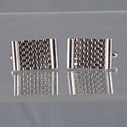 Pair Vintage Silver D.P.B. Basketweave / Chainlink / Chainmail Cufflinks Cuff LInks D.P.B.