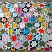 Vintage Cotton QUILT TOPPER QUILT TOP Hexagon Star Quilt