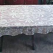 "SOLD Vintage Rectangle CROCHET LACE TABLECLOTH 60"" x 77"" Floral Scallop Edge"