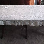"""SOLD Vintage Antique Creamy White LACE TABLECLOTH 60"""" x 75"""" Intricate Lace"""
