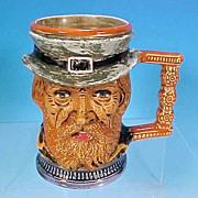 Vintage Italian Ceramic CHARACTER FACE MUG Beer Tankard SOLDIER - Signed / Italy