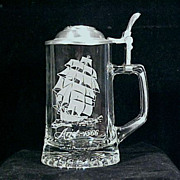 SALE Vintage CUI Lidded GLASS Beer Stein - Nautical Stein Series - ARIEL / Old Spice