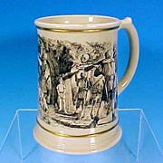 Vintage FRANKLIN Porcelain Beer Tankard or Beer Stein Mug BENVENUTI artwork / 24K Gold Trim