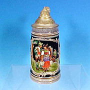 Vintage THEWALT Lidded German Beer Stein Cobalt Blue Salt Glaze Tyrolean Couple 1/4L