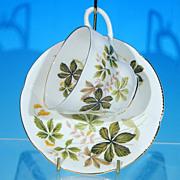 Vintage ROYAL ALBERT Tea Cup (Teacup) & Saucer Set Green & Tan Leaves Golden Seed ...