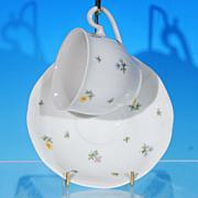 Vintage BOHEMIA Porcelain Tea Cup (teacup) & Saucer Set Czechoslovakia Pastel Flowers