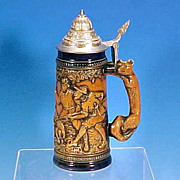 SALE Vintage ORIGINAL GERZIT (GERZ) W. Germany Figural Fox Lidded Beer Stein Hunting Scene Wil