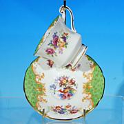 Vintage PARAGON China Demitasse Teacup (Tea Cup) & Saucer Set, England, ROCKINGHAM Green c